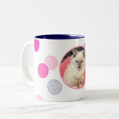 CUTE CONFETTI SPOT PHOTO modern kids pet picture Two-Tone Coffee Mug