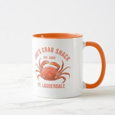 Cute Coral-Red Crab Watercolors Illustration Mug
