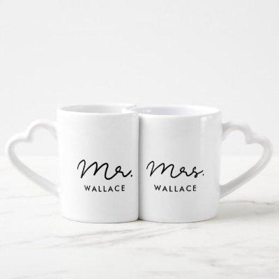 Cute custom Mr and Mrs Coffee Mug Set