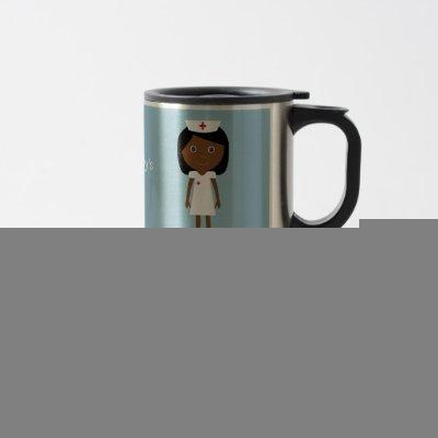 Cute Ethnic Cartoon Nurse Personalized Travel Mug