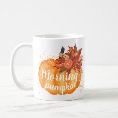 Cute fall morning pumpkin watercolor gold glitter coffee mug