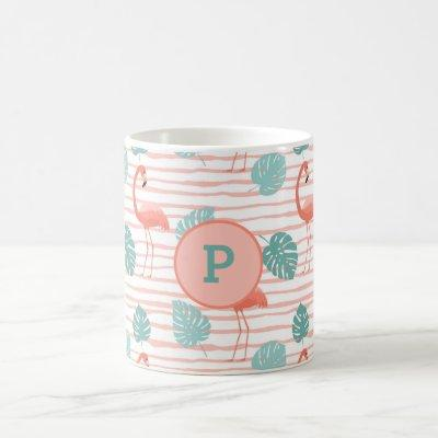 Cute Flamingos on Pink and Green Leafy Background Coffee Mug
