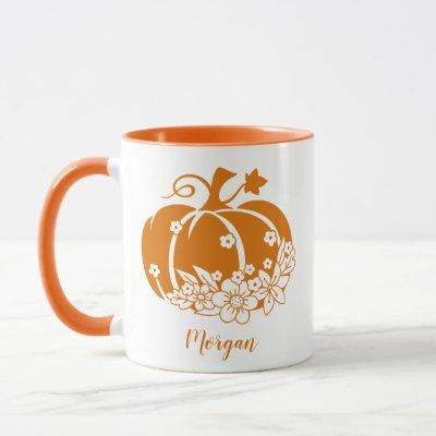 Cute Floral Halloween Or Thanksgiving Pumpkin Mug