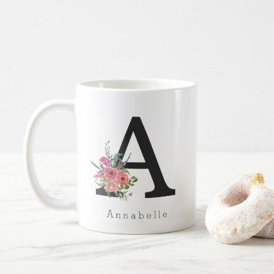 Cute Floral Watercolor Boho Pink Rose Monogram Coffee Mug