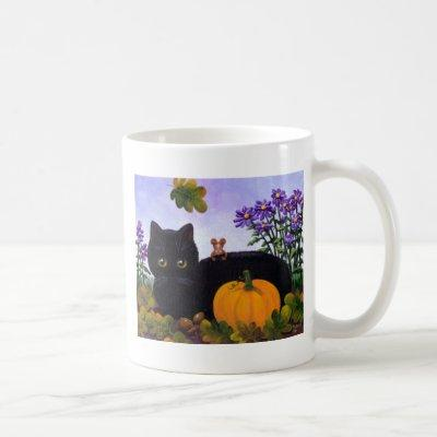 Cute Funny Black Cat Mouse Fall Gift Creationarts Coffee Mug