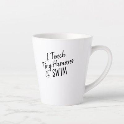 Cute Funny Swim Coach Gift - Tiny Humans Swimming Latte Mug