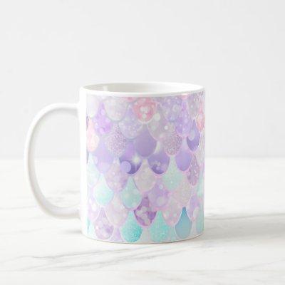 Cute Girls Mermaid Mug, Pastel Pink, Purple, Teal Coffee Mug