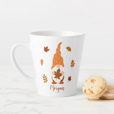 Cute Gnome Fall Custom Name Falling Leaves Latte Mug