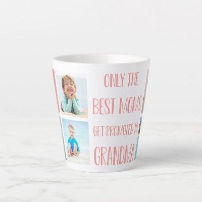 Cute Grandma Grandchildren Photo & Name Latte Mug