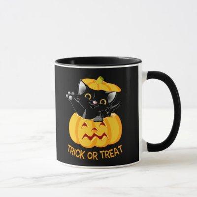 Cute Halloween mug Personalized black cat