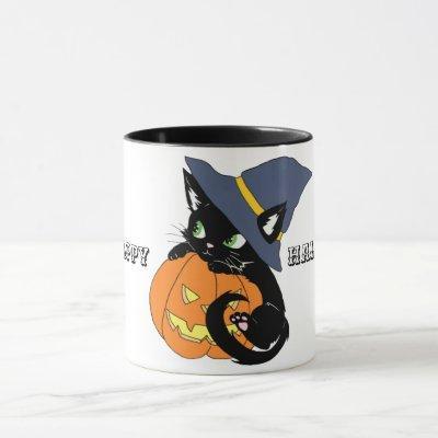 Cute Happy Halloween Kitten Coffee Mug
