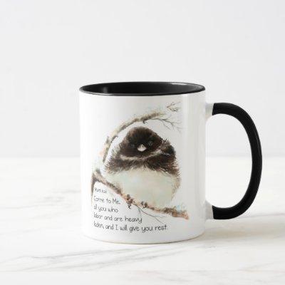 Cute Junco Bird, Scripture, Matt 11:28, Rest Mug