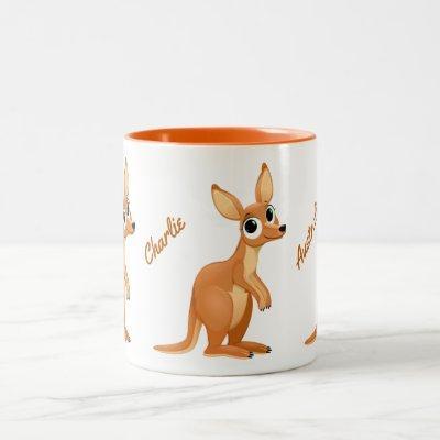 Cute Kangaroo custom text mugs