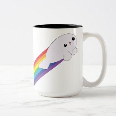 Cute Kawaii Rainbow Rocket Baby Seal Two Tone Mug