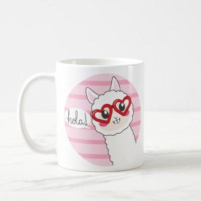 Cute Llama Hola Coffee Mug