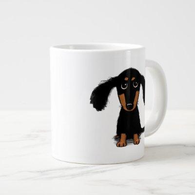 Cute Long Haired Black and Tan Dachshund Puppy Dog Large Coffee Mug