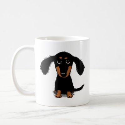 Cute Long Haired Dachshund Puppy Dog Coffee Mug