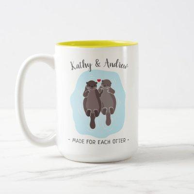 Cute Made for Each Otter Customized Gift Him Her Two-Tone Coffee Mug