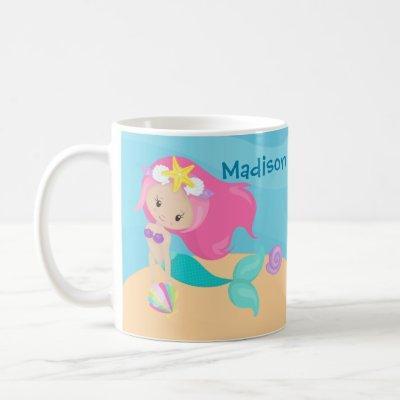 Cute Mermaid Girl Custom Kids Ocean Beach House Coffee Mug