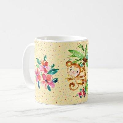 Cute Monkey Flower and Confetti Coffee Mug