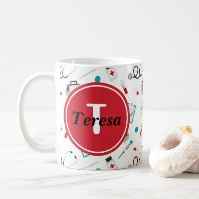 Cute Nurse Monogram add name coffee mug