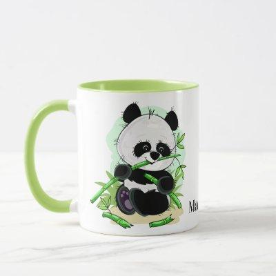 Cute Pandas custom name mugs