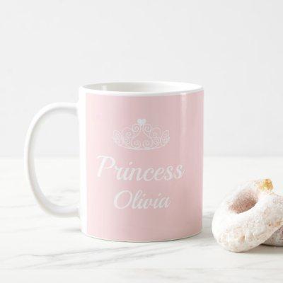 Cute Pink Princess Name with Tiara Personalizable Coffee Mug