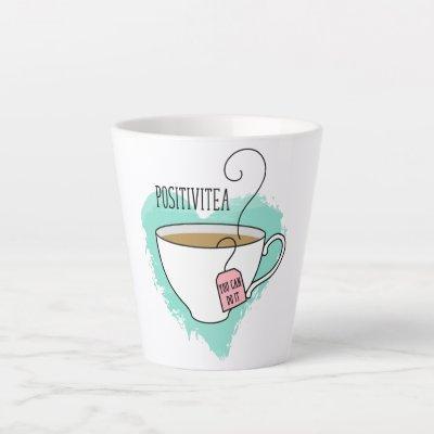 Cute Positivitea Gift for Graduation, New Job Latte Mug