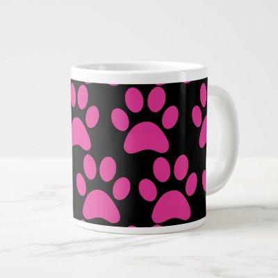 Cute Puppy Dog Paw Prints Hot Pink Black Large Coffee Mug