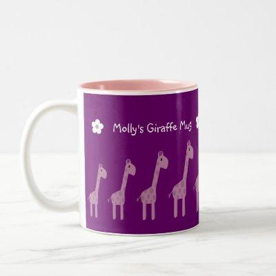Cute Purple & Lilac Cartoon Giraffes Mug