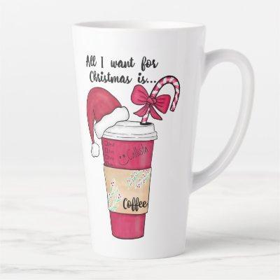 Cute Red Santa Hat Coffee Candy Cane Christmas Latte Mug