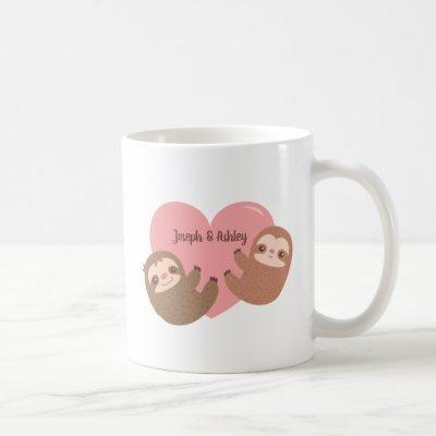 Cute Sloth Couple Hugging Heart, Personalized Coffee Mug