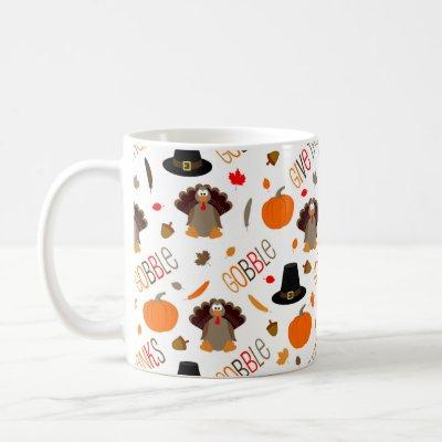 Cute Thanksgiving Pattern Gobble Give Thanks Coffee Mug