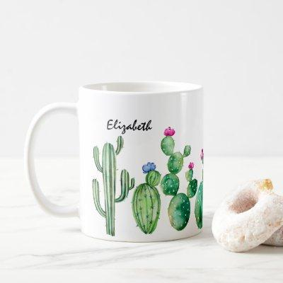 Cute Watercolor Cactus Personalized Coffee Mug
