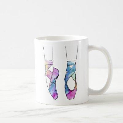 Cute Watercolor Dancing Ballet Shoes for Ballerina Coffee Mug