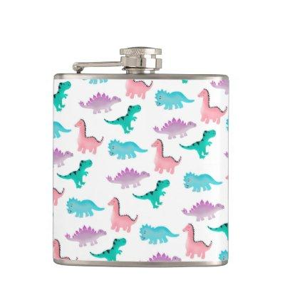 Cute whimsical pastel watercolor dinosaurs pattern flask