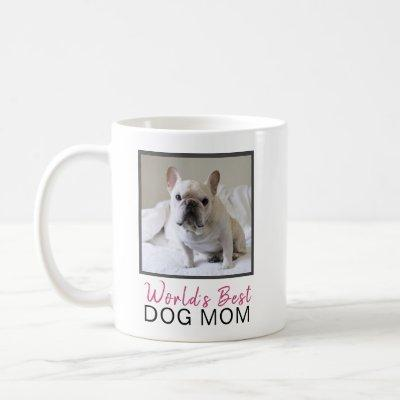 Cute World's Best Dog Mom Square Dog Photo Coffee Mug