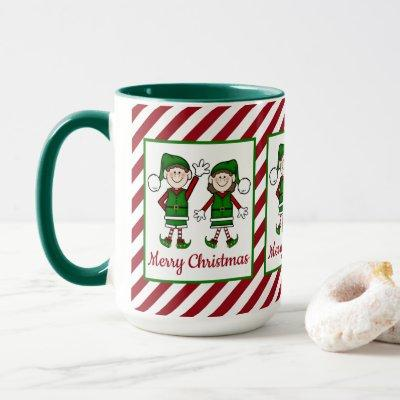 Cutie Christmas Elves Merry Christmas Mug