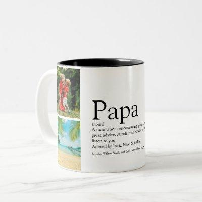 Dad, Daddy, Father Definition 4 Photo Collage Two-Tone Coffee Mug
