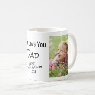 Dad We Love You Personalized Photo & Names Coffee Mug