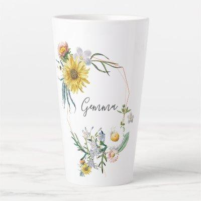 Daisy Wreath Custom Name Latte Mug