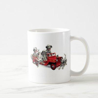 Dalmatian Pups with Fire Truck Coffee Mug