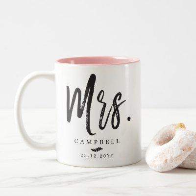 Dancing Script Lettering | Mr. and Mrs. Two-Tone Coffee Mug