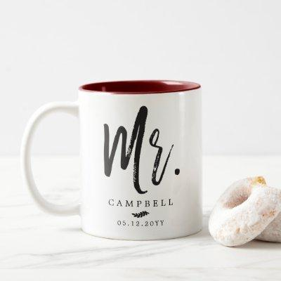 Dancing Script Lettering Mr. and Mrs. Two-Tone Coffee Mug