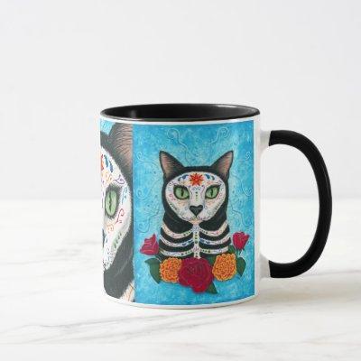 Day of the Dead Cat Sugar Skull Art Mug