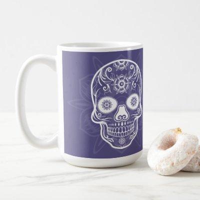 Day Of The Dead White Sugar Skull Purple Coffee Mug