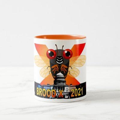DC Cicada City! Brood X 2021 Cicada Mug. Two-Tone Coffee Mug