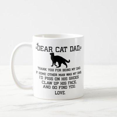 Dear Cat Dad photo collage and cat's name Coffee Mug