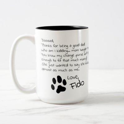Dear Dog Dad Mom Customizable Pet Name Coffee Mug