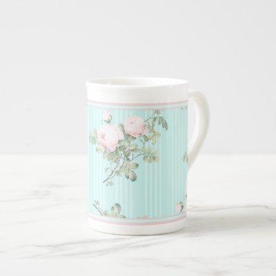 Decorative mug china shabby chic roses